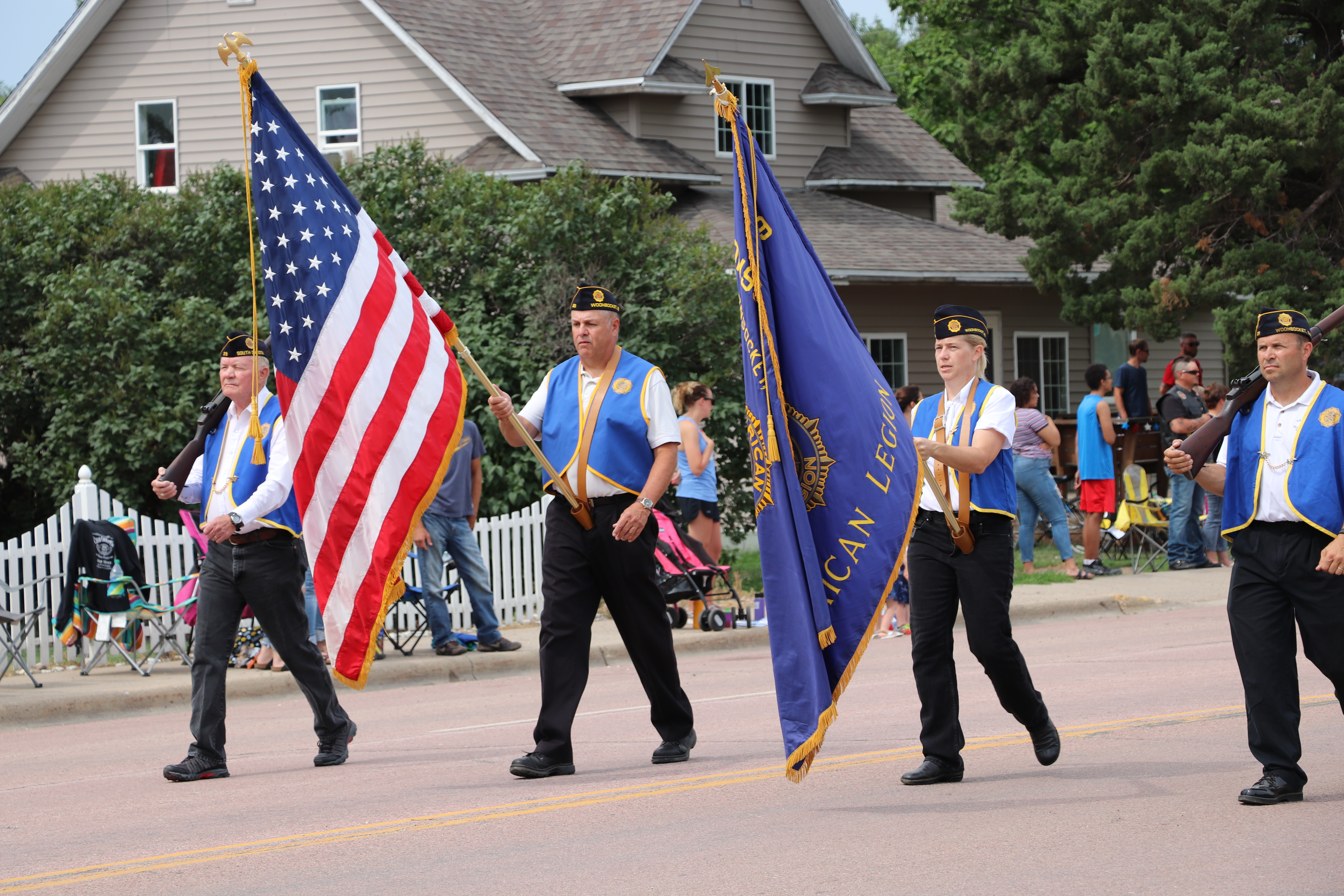 The annual Woonsocket Water Festival includes a parade led by the American Legion Post #29 Color Guard.