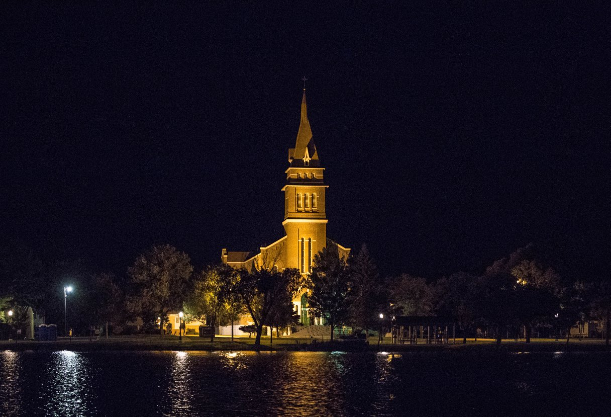 St. Wilfrid's Church across Lake Prior - photo credit to Riley Zoss